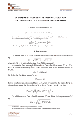 Ele-Math – Journal of Mathematical Inequalities: An